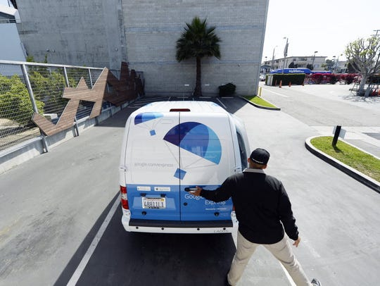 A Google Express van is seen at Google's Los Angeles