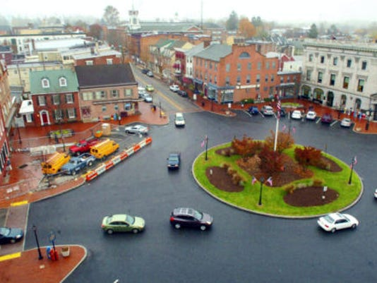 An aerial shot shows Gettysburg's center square.