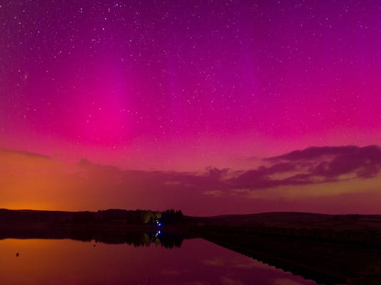 The Aurora Borealis are seen over Usk Reservoir. Aurora Borealis seen over the Brecon Beacons, Wales, Britain - 17 Mar 2015 Increased solar activity has meant the northern lights were viewable over many areas of the United Kingdom, reaching as far south as South Wales.