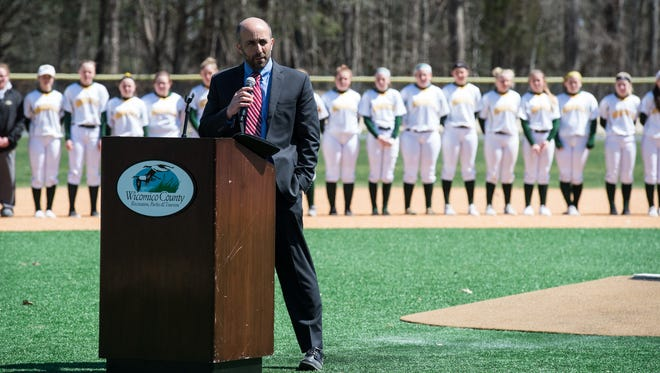 Steve Miller, Director of Wicomico County Recreation, Parks and Tourism speaks during the opening day ceremony at the Henry S. Parker Athletic Complex on Thursday, April 5, 2018.