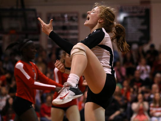 Leon's Kate Powell celebrates a point against Hagerty