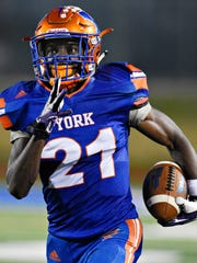 York High's Khalid Dorsey runs the ball for a touchdown during football action against Cedar Cliff at Smalls Field in York City, Friday, Sept. 15, 2017. York High would win the game 48-28. Dawn J. Sagert photo