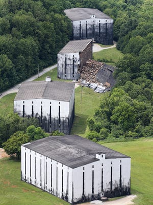 A partially-collapsed bourbon warehouse at the Barton 1792 distillery in Bardstown, Kentucky.June 23, 2018