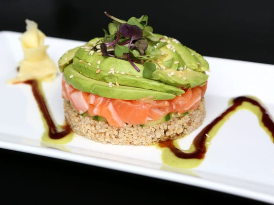 The salmon tartare with quinoa, cucumber, avocado,