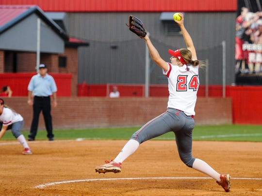 Macey Smith pitching as the Cajuns face Boston University