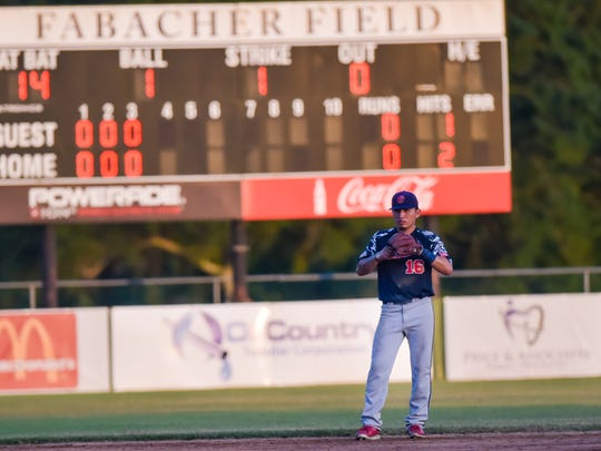 Shortstop Dylon Poncho as the Cane Cutters host the Woodlands Strykers at Fabacher Field in Youngsville. June 18, 2016