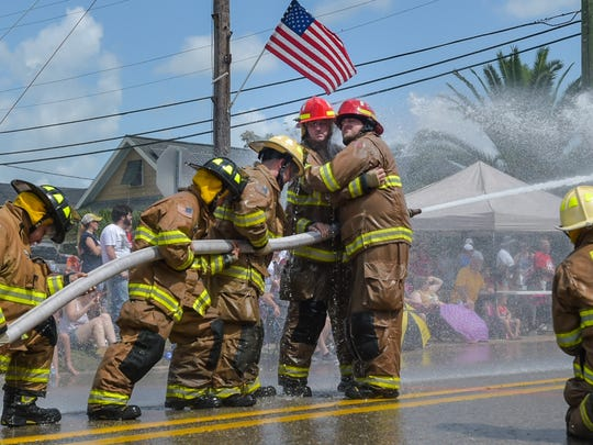 The Erath Fire Department competing at the Erath 4th of July Water Fights.