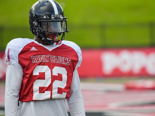 UL senior defensive back Reginald Miles of Alexandria, shown here at practice Tuesday, has made the huge leap from being a walk-on after an open tryout to earning a scholarship.