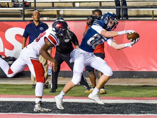 Ben Moody makes a catch in the back of the endzone