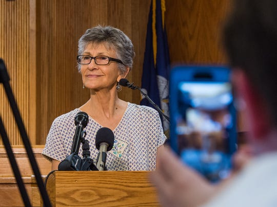 Mary Rose, the mother of Annette Craver Vail, speaks to reporters after a jury found Felix Vail guilty of murdering his first wife, Mary Horton Vail, in 1962. Her daughter was married to Vail when she disappeared in 1984.