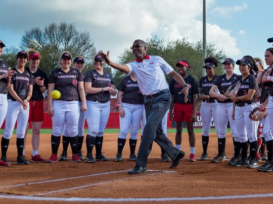 Hollis Conway throws out the first pitch as The Louisiana Ragin Cajuns take on Southeastern. Thursday, Feb. 22, 2018.