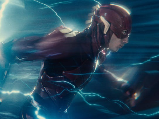 "Ezra Miller as The Flash in ""Justice League."""