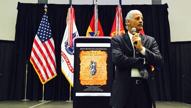 Stedman Graham speaks Tuesday at Fort Bliss during the annual Black History Month Observance. He talked about becoming the leader of your own life and not letting the outside world define you.