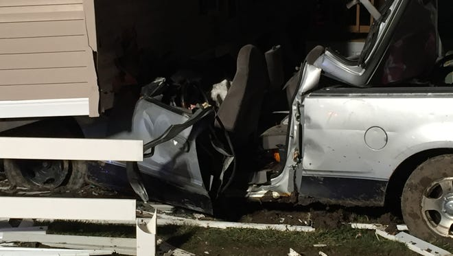 A 21-year-old driver of this truck crashed into two mobile homes near Pendleton Pike and 52nd Street in Lawrence, police said.