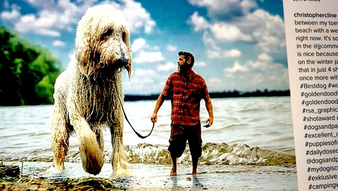 This image, which can be found on Instagram, features Christopher Cline who creates powerful and beautiful images of himself with his dog Juji, who has been visually altered in size to resemble a small shaggy monster.