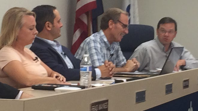 The Brighton City Council meets again Aug. 18. From left Thursday: Council members Renee Pettengill, Kristoffer Tobbe and Jim Bohn and Mayor Jim Muzzin.