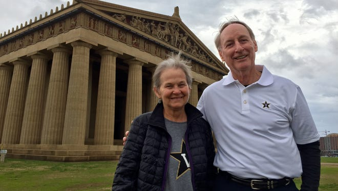 Homer and Janet Drew, parents of Vanderbilt basketball coach Bryce Drew, visit the Parthenon in Centennial Park, where they walk regularly as new Nashville residents.