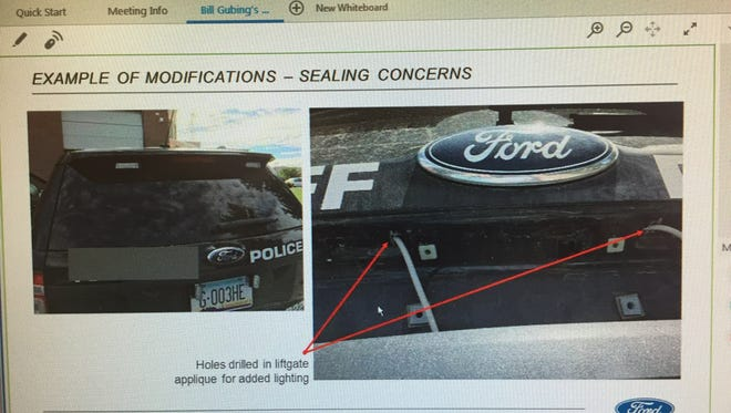 An image from the rear of a Ford Explorer Police Interceptor SUV shows how some modifications  have created holes that allow fumes inside the vehicles.