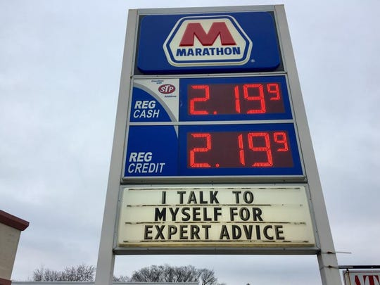 Marathon Gas on Crooks and Mayberry in Royal Oak, showing off a funny message.