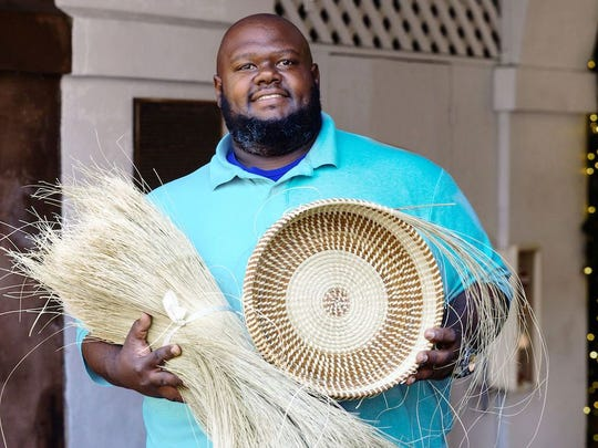 Sweetgrass basket weaver Corey Alston at Charleston
