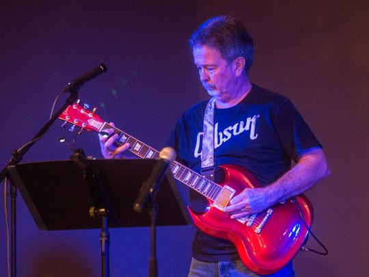 Bruce George plays guitar during a Battle of the Bands kickoff event for Wetumpka's Relay for Life in 2017.