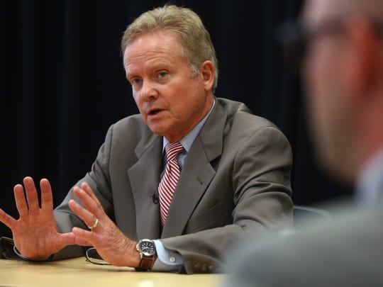 Former U.S. Sen. Jim Webb of Virginia talks to the Register Editorial Board inside the Register Community room on Tuesday, June 16, 2015.