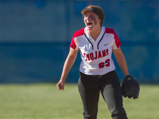 Center Grove senior Jordyn Rudd reacts to an out in the seventh inning during the championship game of an IHSAA Softball Sectional at Franklin Central High School, Wednesday, May 23, 2018.