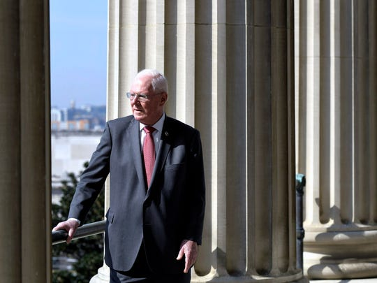 State Rep. Charles Sargent stands on the balcony of the state Capitol outside House chambers April 10, 2018. Sargent died in 2018.