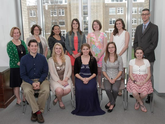 The Department of Social Work at Misericordia University inducted five students into the local chapter of the Alpha Delta Mu National Social Work Honor Society, and held a pinning ceremony for graduating seniors in the social work program. Participating in the program, first row from left, are Tim Kelly of Cedar Knolls; Alicia Lomascolo of Tunkhannock,Pennsylvania; April Lennon of Dallas, Pennsylvania; Katie Smith of Dalton, Pennsylvania, and Emily Ousouljoglou of Bridgewater; second row, Susan McDonald, Ph.D., L.S.W., assistant professor and chair, Department of Social Work; Leamor Kahanov, Ed.D., A.T.C., L.A.T., dean, College of Health Sciences and Education; Carly Ellman, L.C.S.W., adjunct professor of social work; Amanda Clark of Nanuet, New York; Alexandra Goetz of Deptford; Olivia Mayorowski of Old Forge, Pennsylvania., and David Hage, M.S.W., L.S.W., assistant professor and social work field director.