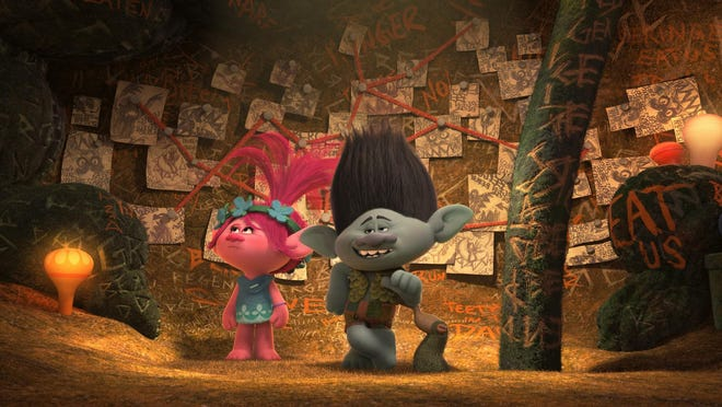 The overly cautious Troll Branch (R, voiced by Justin Timberlake) shows off his Fear Bunker to optimistic Troll Poppy (L, voiced by Anna Kendrick).