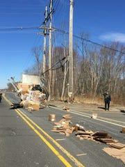 A truck struck a train trestle on Laurel Avenue in