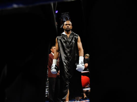 LAS VEGAS - APRIL 03:  Roy Jones Jr. appears in the ring before his light heavyweight bout against Bernard Hopkins at the Mandalay Bay Events Center April 3, 2010 in Las Vegas, Nevada. Hopkins won by unanimous decision.  (Photo by Ethan Miller/Getty Images)