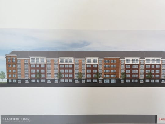 An artist rendering for a 120-unit apartment building proposed for the former Landauer Metropolitan headquarters in Mount Vernon.