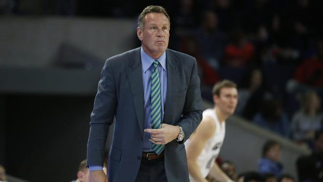 GCU's head coach Dan Majerle watches his team play Longwood during the first half at GCU Arena on December 21, 2017 in Phoenix, Ariz.