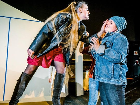 """Maria McCarthy, left, and Olivia Hines in LCC's production of """"Student Body"""" by Frank Winters."""