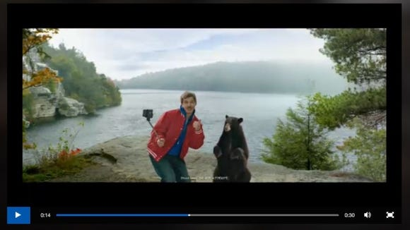 An I Love New York tourism ad depicting a bear selfie.