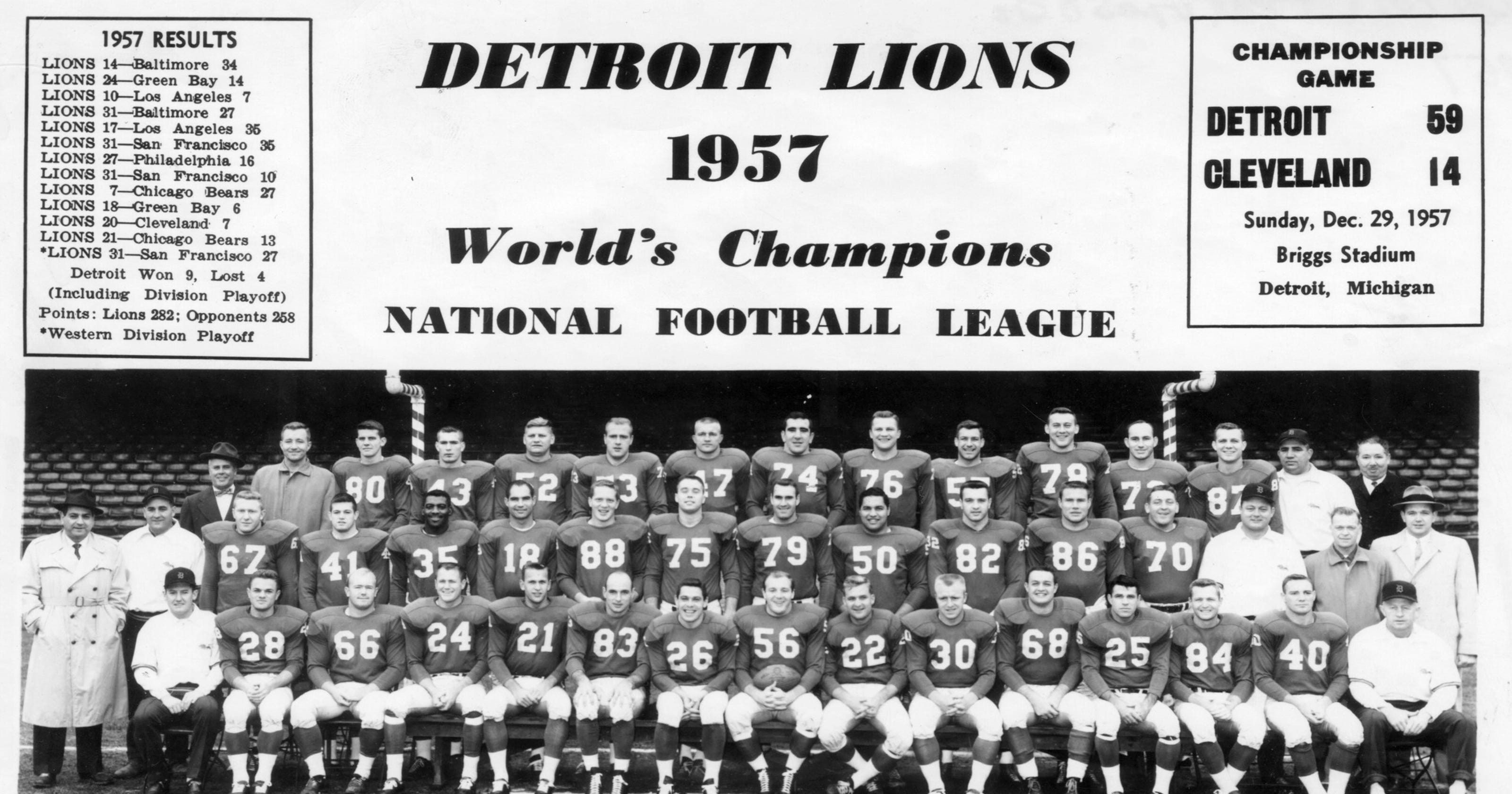 1957 detroit lions meet the championship roster where are they now
