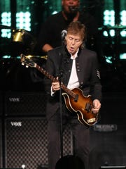 Paul McCartney performs for fans at Little Caesars Arena in Detroit Sunday, October 1, 2017.