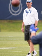 Frank Reich, head coach, during Indianapolis Colts rookie camp, Colts Complex, Indianapolis, Saturday, May 12, 2018.