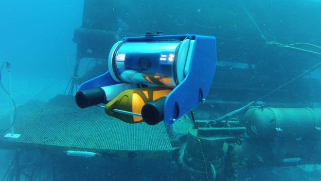 The OpenROV machine can lunge about the length of a football field (100 meters) below the surface.
