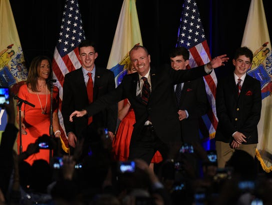 New Jersey Governor-elect Phil Murphy with his family,