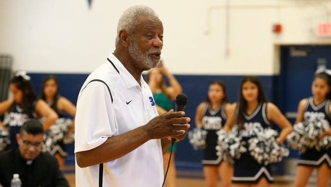 The 2017 Father Rahm Segundo Barrio Person of the Year and Naismith Memorial Basketball Hall of Fame member coach Nolan Richardson speaks to students in May at Guillen Middle School. He discussed the importance of an education and how to stay ahead of the pack.