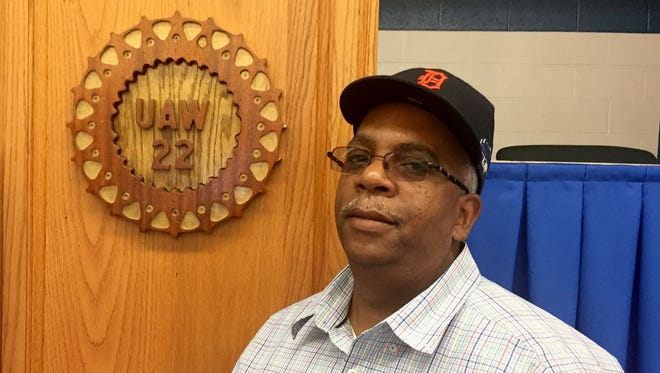 """Percy Johnson, a Troy resident and veteran UAW pipefitter at GM's Poletown plant in Hamtramck, stands next to the stage at his union hall -- UAW Local 22 in Detroit -- where the union will host a """"felony-friendly"""" job fair aimed at hard-to-hire metro Detroiters on Aug. 5, 2017."""