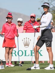 Lucy Li, left, and Michelle Wie on the teebox at the 9th hole at the ANA Inspiration in Rancho Mirage, March 30, 2017.