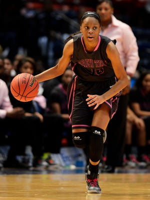 Brewbaker Tech's Bianca Jackson drives against Wenonah in the 5A state championship game at the AHSAA State Finals at Legacy Arena at BJCC in Birmingham, Ala. on Saturday February 28, 2015.