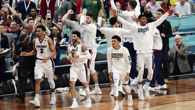 Gonzaga players celebrate after beating South Carolina  in their national semifinal game at the 2017 Final Four in Glendale, Ariz.