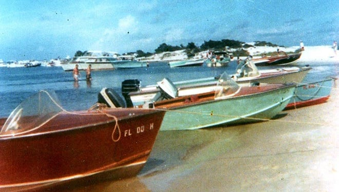 Boaters on Navarre beach in 1965, when Navarre Pass was briefly opened.