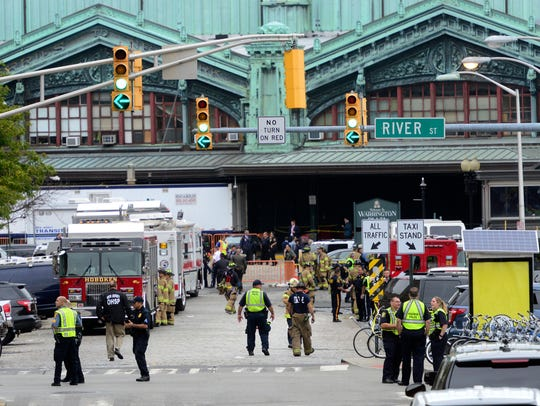 Emergency personnel respond to a train crash inside