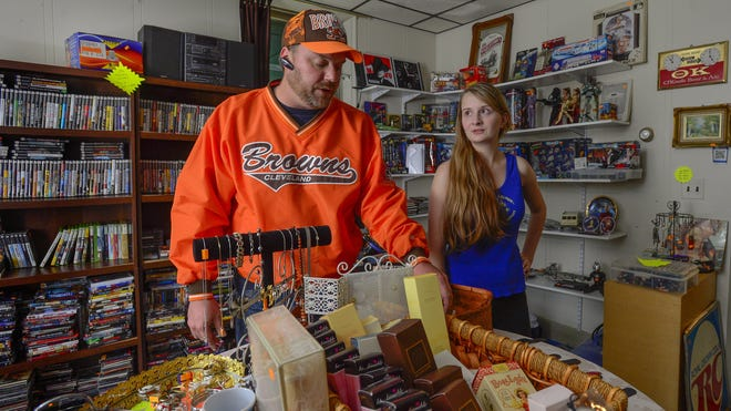 Thrift store owner Larry Elavsky is selling the shop that his daughter, Isabel Tereshch, runs in the antique district of Reistertown, Md., outside Baltimore. After living in Reisterstown for nine years, he's planning to move to Orlando.