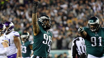 Philadelphia Eagles defensive end Derek Barnett (96) celebrates after a fumble during the second quarter against the Minnesota Vikings in the NFC Championship game at Lincoln Financial Field.